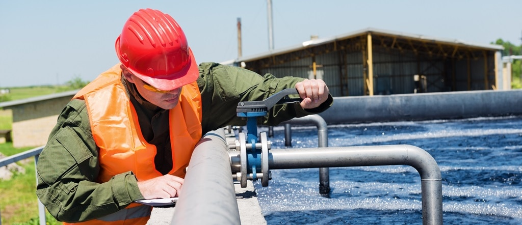 Engineer controlling water quality