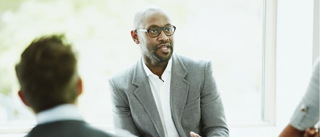 Businessperson speaking